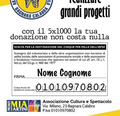 Dona il 5x1000 all'Associazione Cultura e Spettacolo organizzatrice del Premio Mia Martini